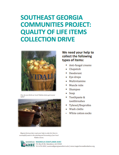 Southeast Georgia Communities Project: Quality of Life Items Collection Drive